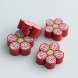 15mm Polymer Clay Beads Red Flower - Pack of 6