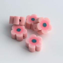 12mm Polymer Clay Beads Pink Flower - Pack of 6