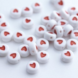 7mm Acrylic Alphabet White Beads - Red Heart Spacer