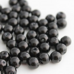 8mm Glass Pearl Beads Black