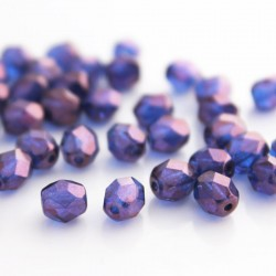 6mm Fire Polished Czech Glass Beads - Sapphire Blue Violet Lustre