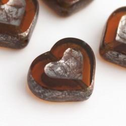 12x14mm Czech Table Cut Hearts - Topaz Silver Lustre