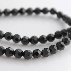 6mm Faceted Round Crystal Glass Beads - Black
