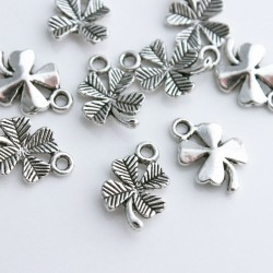 15mm Four Leaf Clover Charms - Antique Silver Tone - Pack of 10