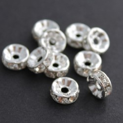 8mm Silver Plated Rhinestone Rondelle Spacer Beads