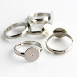 Silver Tone Adjustable Ring Blanks - 17mm
