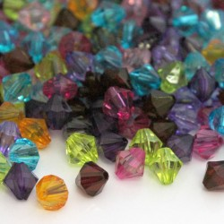 8mm Acrylic Bicone Beads NEW PACK SIZE - Mixed Colours