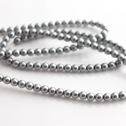 4mm Czech Glass Pearl Beads - Silver