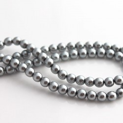 6mm Czech Glass Pearl Beads - Silver