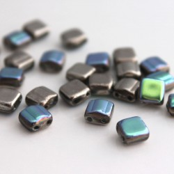 Czech Glass Silky Arc 2-Hole Beads 6mm - Crystal Silver Blue