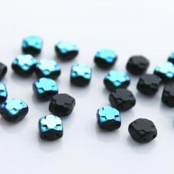 Czech Glass Table Cut Cross 2-Hole Beads 6mm - Jet AB (PK 15)