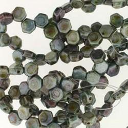 Honeycomb Czech Glass Beads - Chalk Lazure Blue