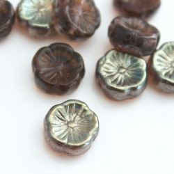 12mm Czech Pressed Flowers - Amethyst Topaz Lustre