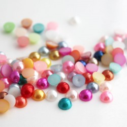 6mm Faux Pearl Acrylic Cabochons - Mixed Colours