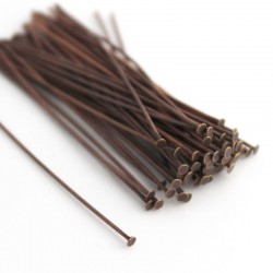 50mm Copper Tone Brass Headpins - Pack of 50