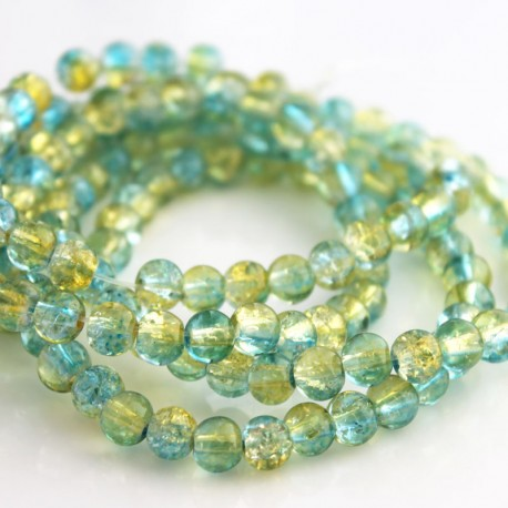 6mm Light Aqua & Yellow Crackle Glass Beads (80cm strand)