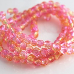 6mm Light Pink & Yellow Crackle Glass Beads (80cm strand)