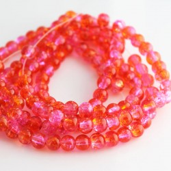 6mm Pink & Orange Crackle Glass Beads (80cm strand)