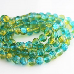 8mm Aqua & Yellow Crackle Glass Beads (87cm strand)
