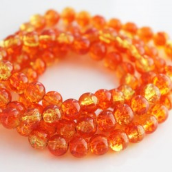 8mm Orange & Yellow Crackle Glass Beads (87cm strand)