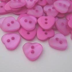 Resin Buttons - Fuchsia Pink Heart