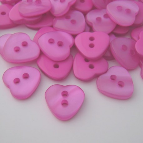 Resin Heart Shaped Buttons Fuchsia Pink | Plastic Buttons Ireland