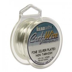 26ga (0.4mm) Beadsmith Dead Soft Craft Wire - Silver Plated - 15yds