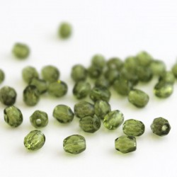 4mm Fire Polished Czech Glass Beads - Olivine