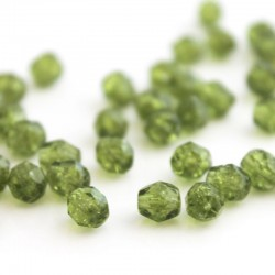 6mm Fire Polished Czech Glass Beads - Olivine Crackled