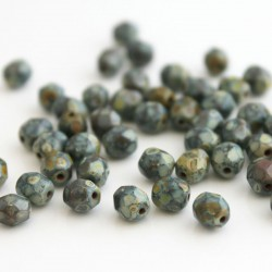 6mm Fire Polished Czech Glass Beads - Opaque Olive Travertine