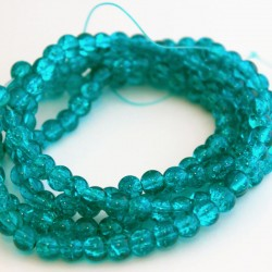 6mm Aqua Crackle Glass Beads (81cm strand)
