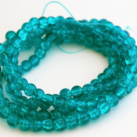 6mm Aqua Crackle Glass Beads (81cm strand)