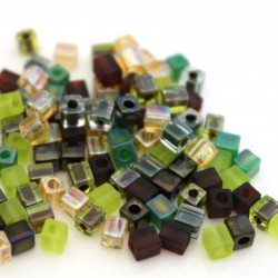 Miyuki Cube Beads 4mm - Earthtone Mix