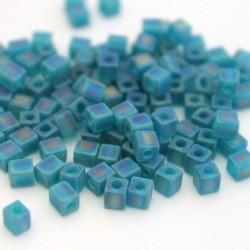 Miyuki Cube Beads 4mm - Matt Transparent Teal AB