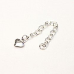 Extender Chain With Heart Charm - Sterling Silver