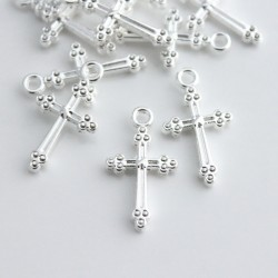 Silver Plated 21mm Cross Charm