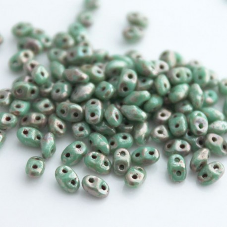MiniDuo Two Hole Beads - Turquoise Green Picasso