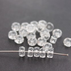 Czech Glass Fire Polished Rondelle Beads 3x6mm - Crystal