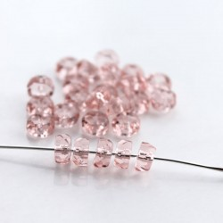 Czech Glass Fire Polished Rondelle Beads 3x6mm - Light Pink