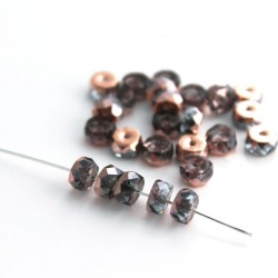 Czech Glass Fire Polished Rondelle Beads 3x6mm - Light Sapphire Capri Gold