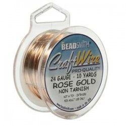 24ga (0.51mm) Beadsmith Dead Soft Craft Wire - Rose Gold - 10yds