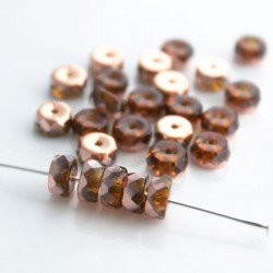 Czech Glass Fire Polished Rondelle Beads 3x6mm - Amber Capri Gold