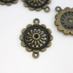 Bronze Tone Flower Connectors