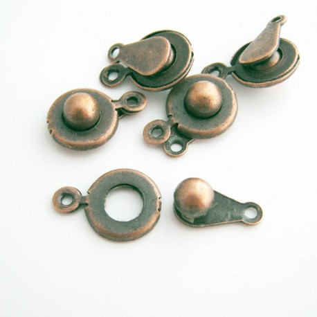 Copper Tone Ball and Socket Clasp