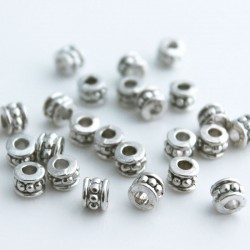5mm Antique Silver Tone Tube Beads