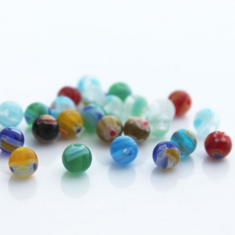 Millefiori 6mm Round Beads - Mixed Colours
