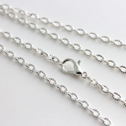 "Silver Plated Textured Cable Chain Necklace - 50cm (20"")"