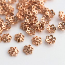 6mm Bead Cap - Rose Gold Plated Flower
