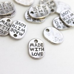 """11mm Oval """"made with love"""" Charm - Antique Silver Tone - Pack of 20"""