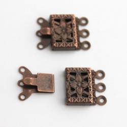 3 Strand Box Clasp - Copper Tone - Pack of 2